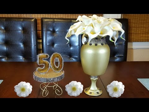 Elegant gold and black Centerpiece | 50th golden anniversary | home decor