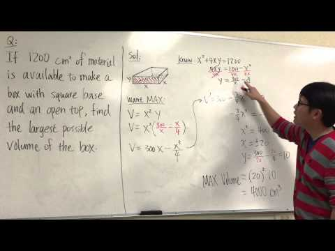 Sect 4.7 #15 Optimization, BOX: given surface area, find maximum volume