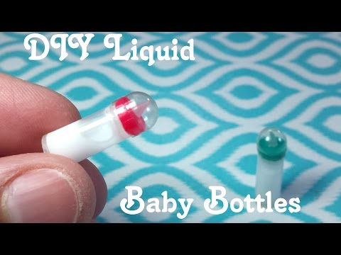 DIY Miniature Baby Bottles with Liquid Inside: Doll DIY