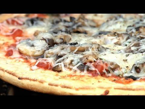 Grilled Pizza with Fresh Mushrooms and Herbs
