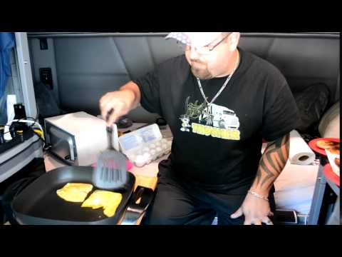 How To Make A Bacon Egg & Cheese Bagel In Your Truck.