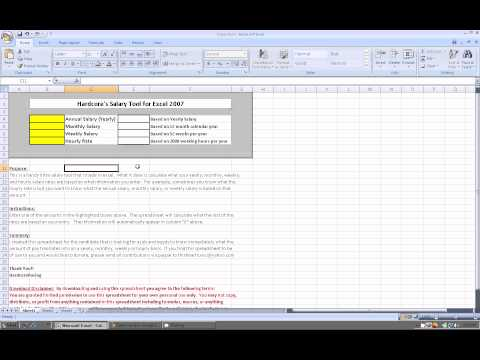 Excel 2007:  Salary Tool Spreadsheet (Free to download)