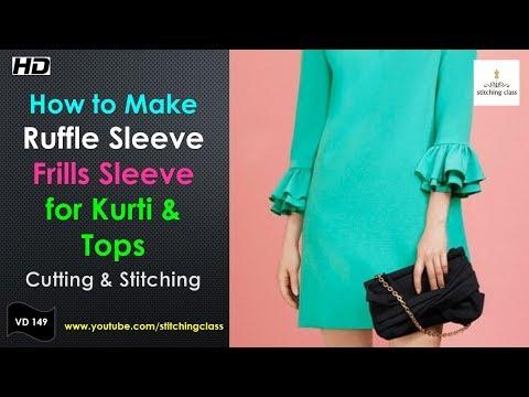 Ruffle Sleeve Cutting and Stitching, Ruffle sleeves pattern, Ruffle sleeves dress