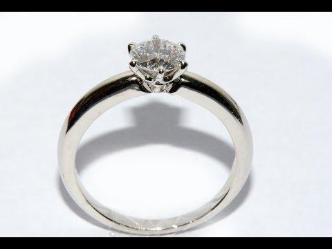 Tiffany model  Diamond ring handmade gold 18k white gold