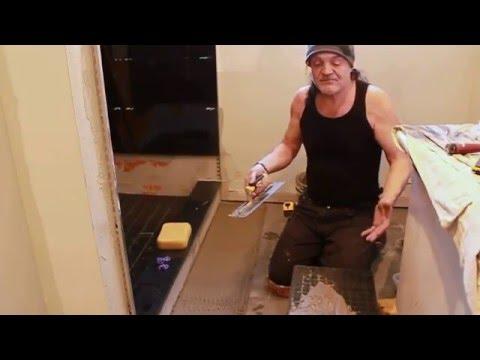 12 X 24 Porcelain bathroom floor tile installation by Prestige Tile Installers.416-937-8115