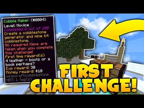 COMPLETING MY FIRST CHALLENGE on Minecraft SKYBLOCK | Minecraft Skyblock #2