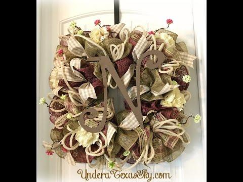 Square Spring Poly Burlap Deco Mesh Wreath