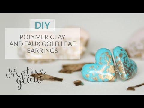 DIY Fimo & Faux Gold Leaf Earrings - So Pretty