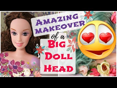 REPAINTING BIG BARBIE DOLL HEAD / FLOWER PRINCESS OOAK / How To Draw Realistic Face, Eyes, Lips