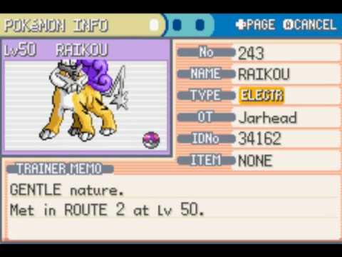 Pokemon Leaf Green catching the legendary pokemon raikou