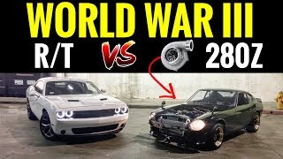 TURBO Datsun 280z vs Dodge Challenger RT | STREET RACE!