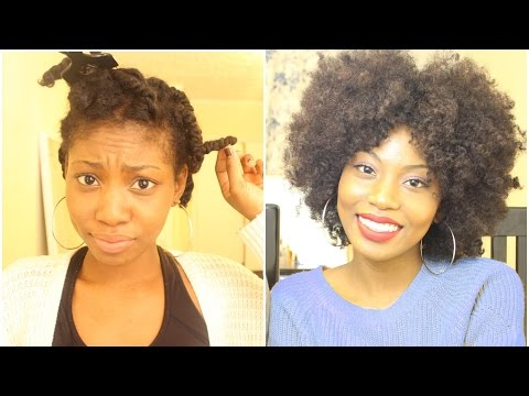 BIG CURLY AND FLUFFY NATURAL HAIR STYLE| STRETCH YOUR TWIST OUT  (quick and simple)