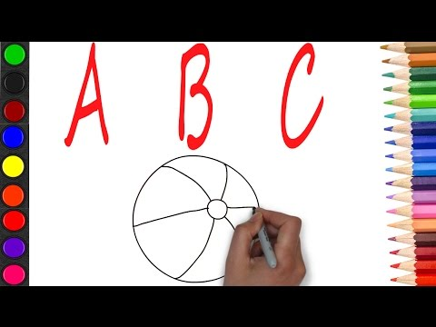 how to drawing abc alphabets with coloring and example for abc[A for apple b for ball]
