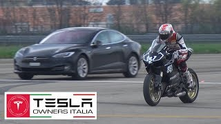 Tesla vs Tuned GT-R R35 vs Ducati 1199 Panigale - Drag Racing Accelerations on Airstrip!