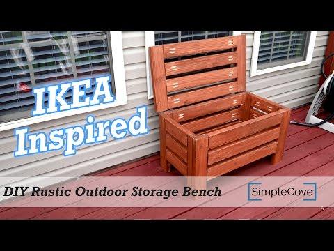 DIY Rustic Outdoor Storage Bench