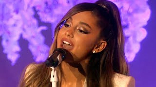 Ariana Grande Falls  Cries During Thank U Next Performance  Hollywoodlife