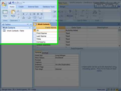 Create a New Primary Key Field in Access 2007