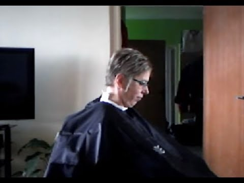 Woman short haircut at home barber