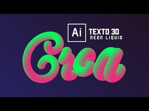 Illustrator - Texto 3D Neon (Fácil en 1min.)