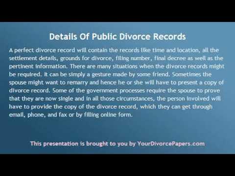 Details of Public Divorce Records