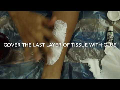 Make a slit for Halloween using glue and tissue