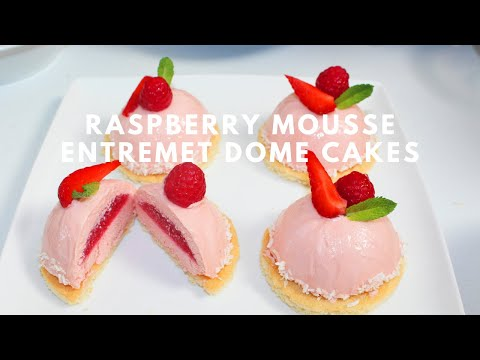 How to make Raspberry Mousse Entremet Dome Cakes