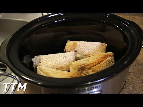 Slow Cooker Tamales in Enchilada Sauce