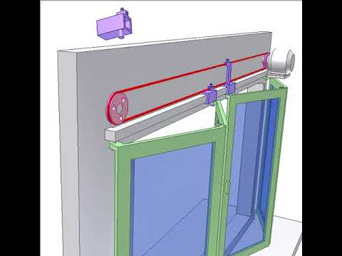 Folding door controlled by cable