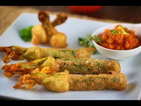 Fried Squash Blossoms Stuffed with Ricotta