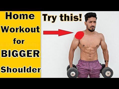 Home Workout for BIGGER SHOULDER | 5 Exercise for Mass | bodybuilding tips
