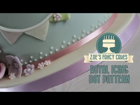 Royal icing a dotted pattern on a cake: Royal icing dot cake tutorial