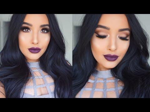 Glowing Skin, Matte Eyes, & Plum lips Makeup Tutorial