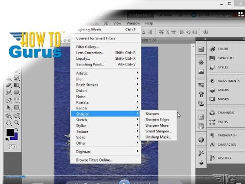 How to Sharpen Image using Sharpen Filters in Adobe Photoshop CS5 CS6 CC Tutorial