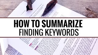 How To Summarize Finding Keywords