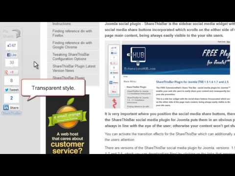 ShareThisBar social media plugin for Joomla™ - Configuration parameters - Part 2