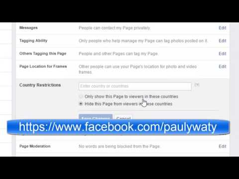 How to add country restrictions for a page in facebook    Hide Facebook page from specific countries