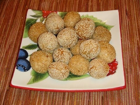 KOREAN RECIPES - SWEET PURPLE YAM SESAME BALLS