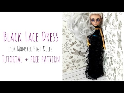 How to make a doll dress + free pattern / Black Lace Dress  - Gothic Dress