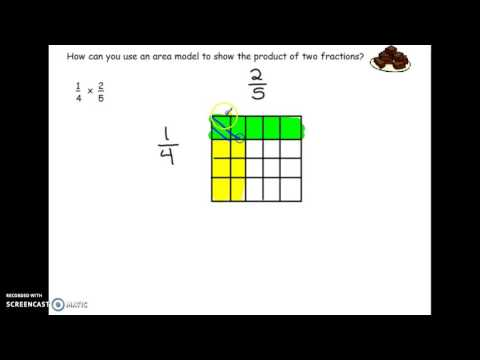 Show a product of two fractions using a model
