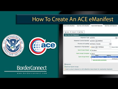 How to create an ACE eManifest in BorderConnect