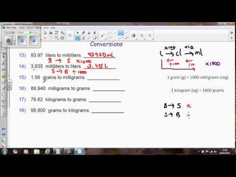 AQA FSMQ Money Management Conversions weight and volume mg,g,kg,ml,cl,l