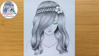 Download A girl with beautiful hair Pencil Sketch drawing / How to draw a girl Video