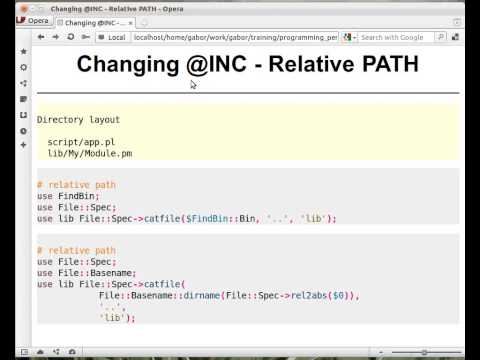 Beginner Perl Maven tutorial: 12.4 - Changing @INC relative path