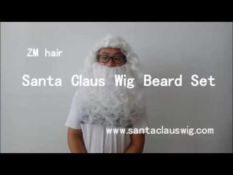 synthetic santa calus wig beard set cheap Christmas performance hair
