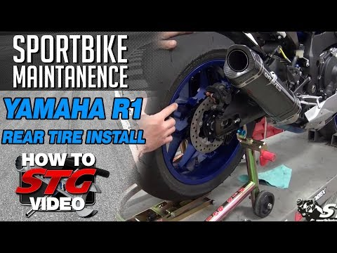 How To Remove and Install a Rear Tire on a 15-17 Yamaha YZF-R1 from SportbikeTrackGear.com