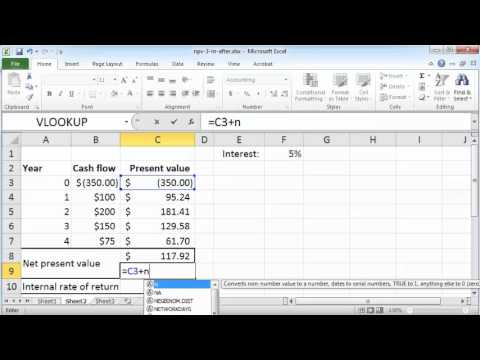 NPV and IRR in Excel 2010