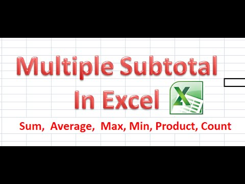 How to Apply Multiple Subtotal In Excel