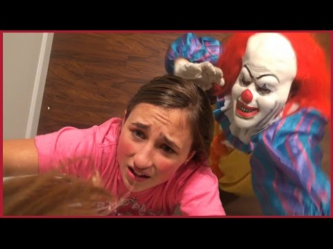 Scary Clown Chases us in The House - Girls Run and Hide Scared