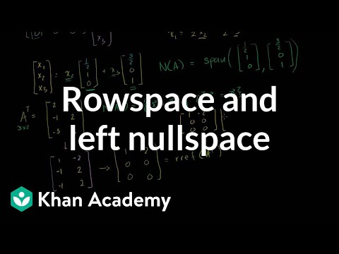 Rowspace and left nullspace | Matrix transformations | Linear Algebra | Khan Academy
