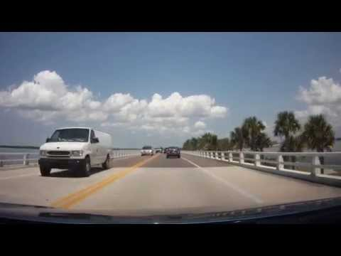 Driving across the Sanibel Causeway in Florida